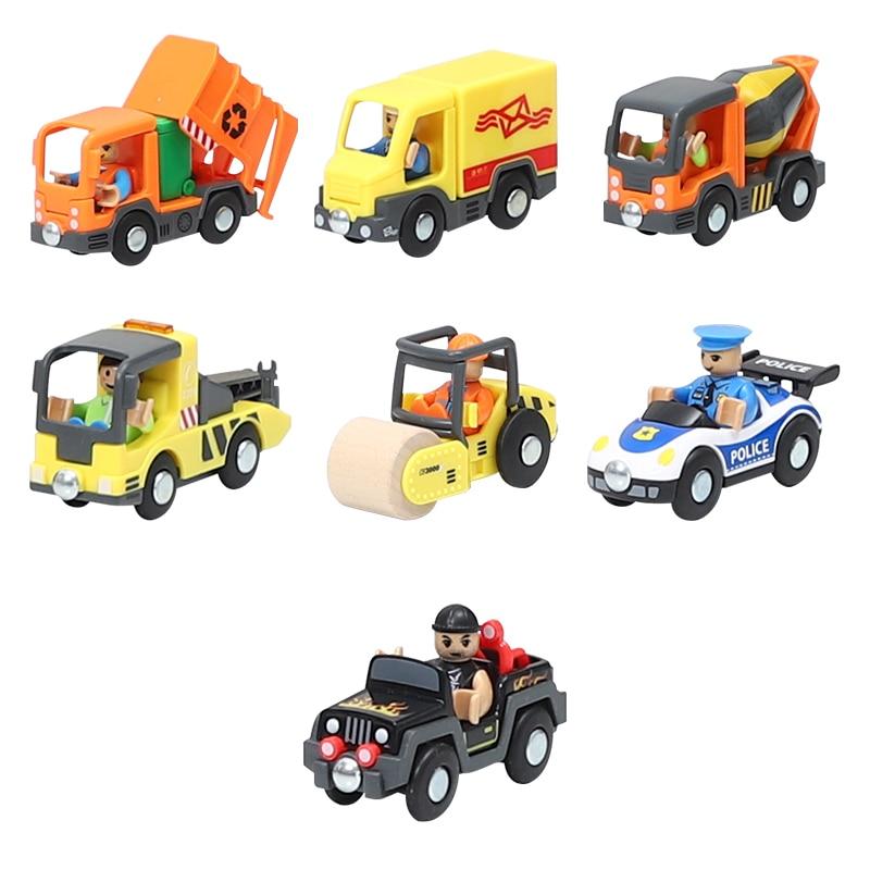 Variedade de veículos utilitários de carro ferroviário opcional aeronaves compatíveis com faixas de madeira de brio treina crianças brinquedo de carro