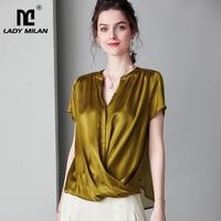 100% Pure Silk Women's Runway Shirts Sexy V Neck Short Sleeves Criss Cross Fashion Casual Blouse Top