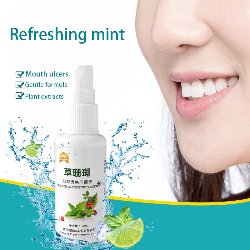 Antibacterial analgesic oral cleanser to treat oral ulcers to relieve pain, inflammation, pharyngitis, bad breath, oral spray