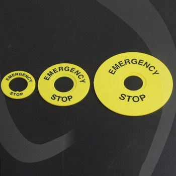 22mm emergency stop button sign yellow plate warning circle emergency stop button switch emergency stop warning circle sign 5pcs lay37 xb2 la38 push button switch accessories emergency stop button sign