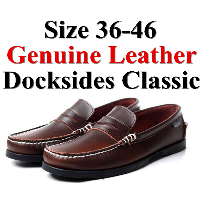Men Women Genuine Leather Docksides Classic Boat Shoes,Man Homme Femme Dark Brown Plus Size 36-46 Brand Flats Loafers 2019A091