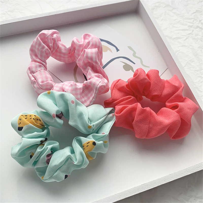 3 adet/takım moda tatlı Scrunchies elastik saç bantları kadınlar için kız baskı lastik toka saç kauçuk bağları saç aksesuarları