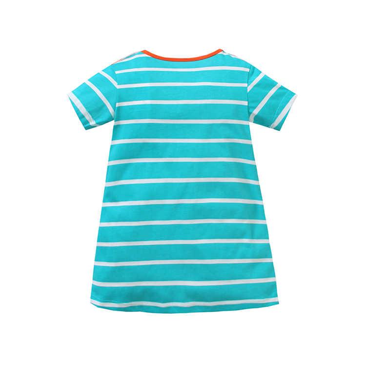 Meninas de verão Vestido Rosa Tarja Vestidos Das Meninas Do Bebê Golfinho Bordado Desgaste Dos Miúdos Em Casa