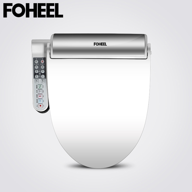 FOHEEL New Intelligent Toilet Seat Gold Silver Side Panel Control Electric Bidet Smart Bidet Heating Dry Massage for Wc