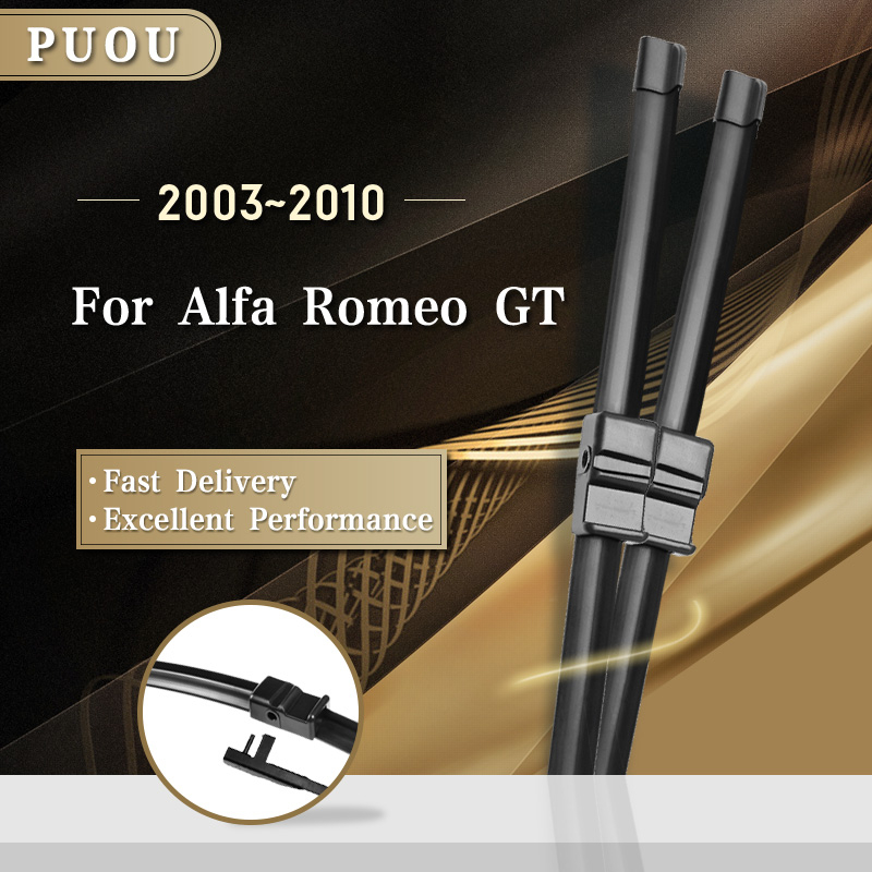 PUOU Windscreen Wiper Blades for Alfa Romeo <font><b>GT</b></font> Fit Hook / Side Pin Arms 2003 2004 2005 2006 2007 2008 2009 2010 image