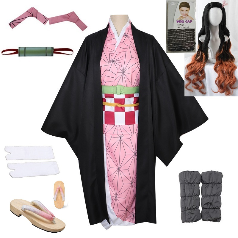 2019 New Hot Japanese Anime Demon Slayer: Kimetsu No Yaiba Kamado Nezuko Cosplay Women Kimono Cosplay Costume Wigs Clogs