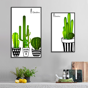 Green Leaf Plant Poster Print Cactus Canvas Painting Picture Home Wall Art Graffiti Aisle Bedroom Modern Decoration Customized image