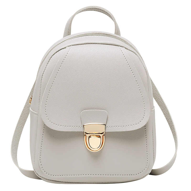 Small pu school bag Korean version of the trend of women's bags casual backpack shoulder Messenger mobile phone bag