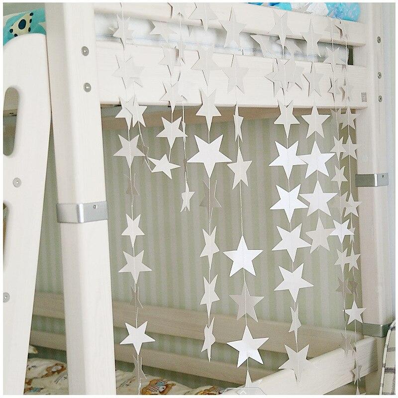 สไตล์นอร์ดิก 4M Long Star String เครื่องประดับสำหรับทารกหญิงห้องหอพักอพาร์ทเม้นท์แขวนผนังตกแต่ง Props 7 ส...