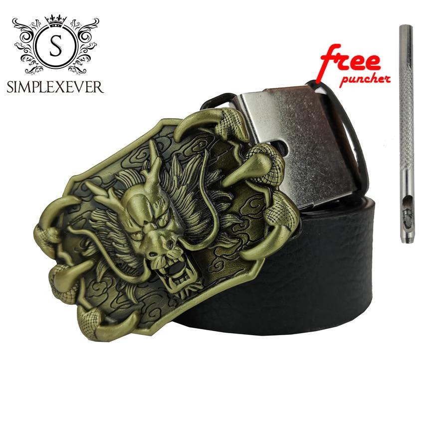 Men's Dragon Pattern Zinc Alloy Smooth Belt Buckle Suitable For 3.8 Cm Wide Belt Brass Dragon Belt Buckles For Men