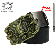 Men's Dragon Pattern Zinc Alloy Smooth Belt Buckle Suitable for 3.8 Cm Wide Belt Brass Dragon Belt Buckles for Men stylish automatic buckle classical checked pattern coffee color belt for men