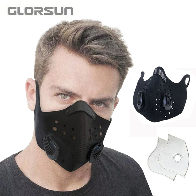 GLORSUN Cycling Half Face Mask PM2.5 Filter Two Exhale Valves Ski Dustproof Anti Pollution Smog Face Mask Sport Cover Shield