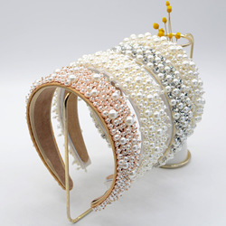 JOLORYM Women Pearls Rhinestone Baroque Headdress Trendy Sponge Crown Hairband Hair Accessory Wide Headband FG-YL-034