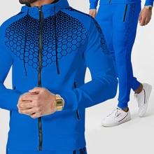 2021 Spring and Autumn New Zipper Cardigan Printed Sports 2 piece Jacket   Pants Men s Hoodie Outdoor Street Jogging Suit