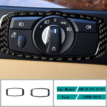 Carbon Fiber Car Accessories Interior Headlight Switch Button Protective Cover Trim Stickers For BMW X5 E70 X6 E71 2008-2013 image