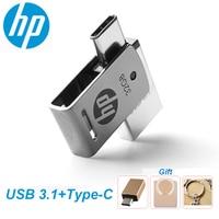 Hp OTG type-C USB3.1 металлический USB флеш-накопитель 256 ГБ 128 Гб 64 ГБ высокоскоростной X5000M флеш-накопитель для смартфонов/планшетов/ПК 32 Гб 16 Гб