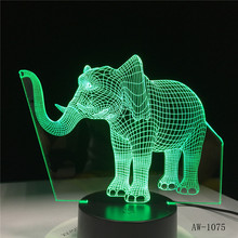 Long Nose Elephant 3D LED Night Lights LED Animal Lamp 7 Colorful Changing LED Touch Table Lamp  Kids Birthday Gift AW-1075 cute unicorn horse animal 3d led 7 colorful wood lamp as lights for kids gift