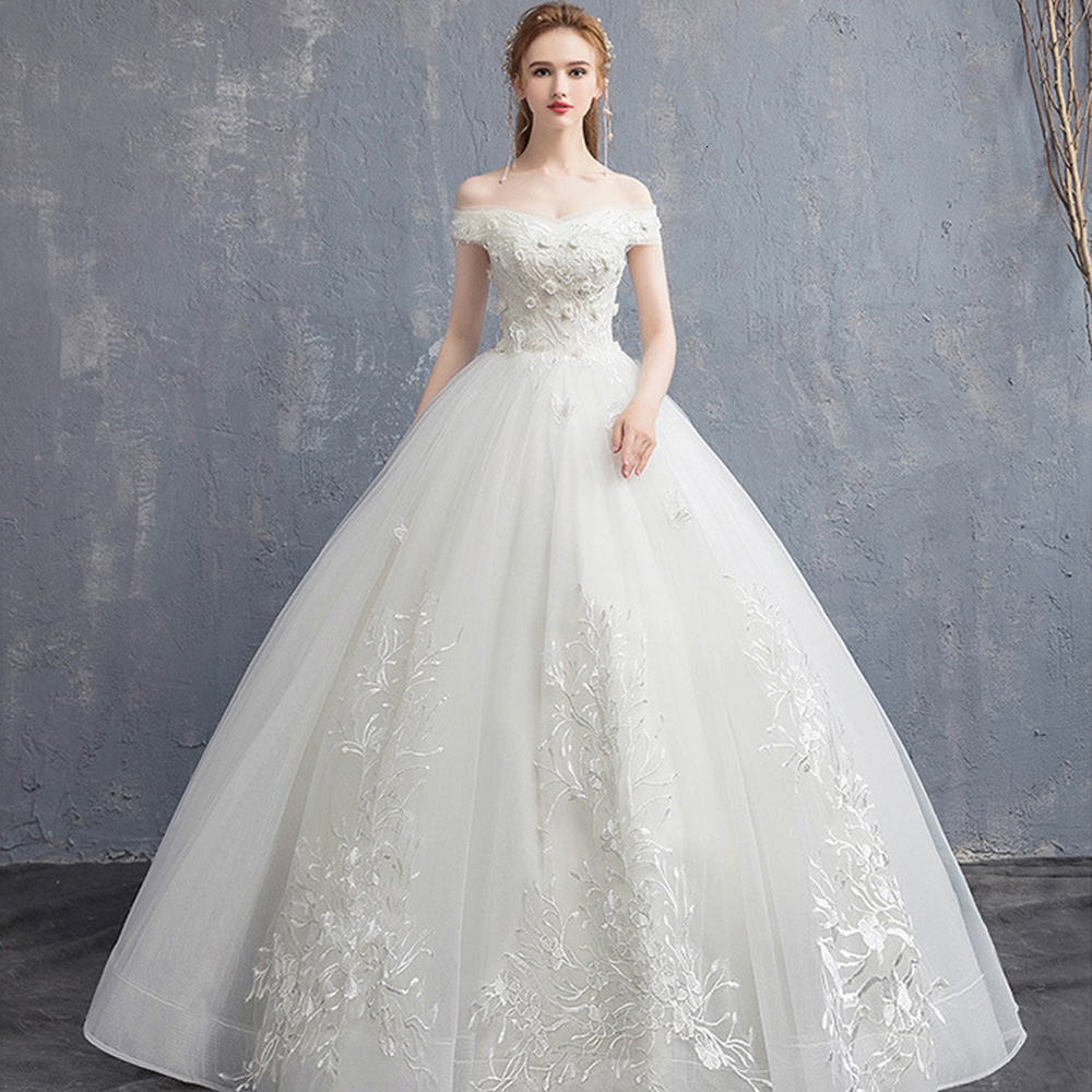 Lace Appliques Wedding Dresses Off The Shoulder Ball Gown Tulle Illusion White Floral Wedding Gowns For Bride Vestido De Noiva