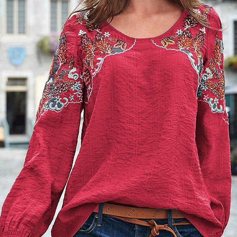 2020 GAOKE Women Vintage Embroidered Blouse Autumn Long Sleeve Cotton Green Shirts Female O-Neck Blusas Party Top Tunic Tops