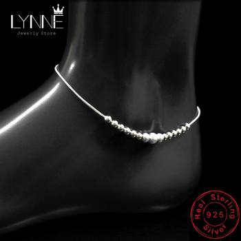 New Fashion Round Ball Beaded Anklet Foot Chain 925 Sterling Silver Frosted Beads Charm Anklets Bracelets For Women Jewelry Gift 5