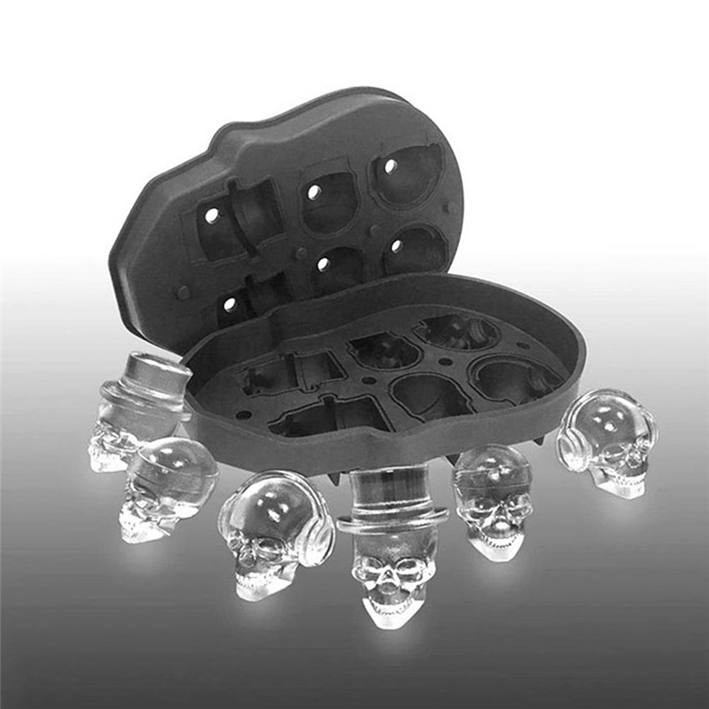 6 Cavity Large Skull Ice Cube Tray Pudding Mold 3D Silicone Mold DIY Ice Maker Household Kitchen Accessories Ice Cube Bar Party