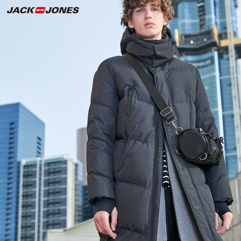 JackJones Men's Winter Casual Hooded Long Down Jacket Coat Menswear Streetwear 219312507