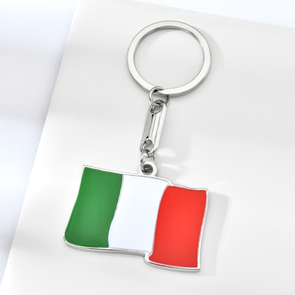 Vicney Italy Flag Pattern Key Chain High Quality Zinc Alloy Keychain For Bag Key Holder Charm Hanging Pendant Car Key Ring