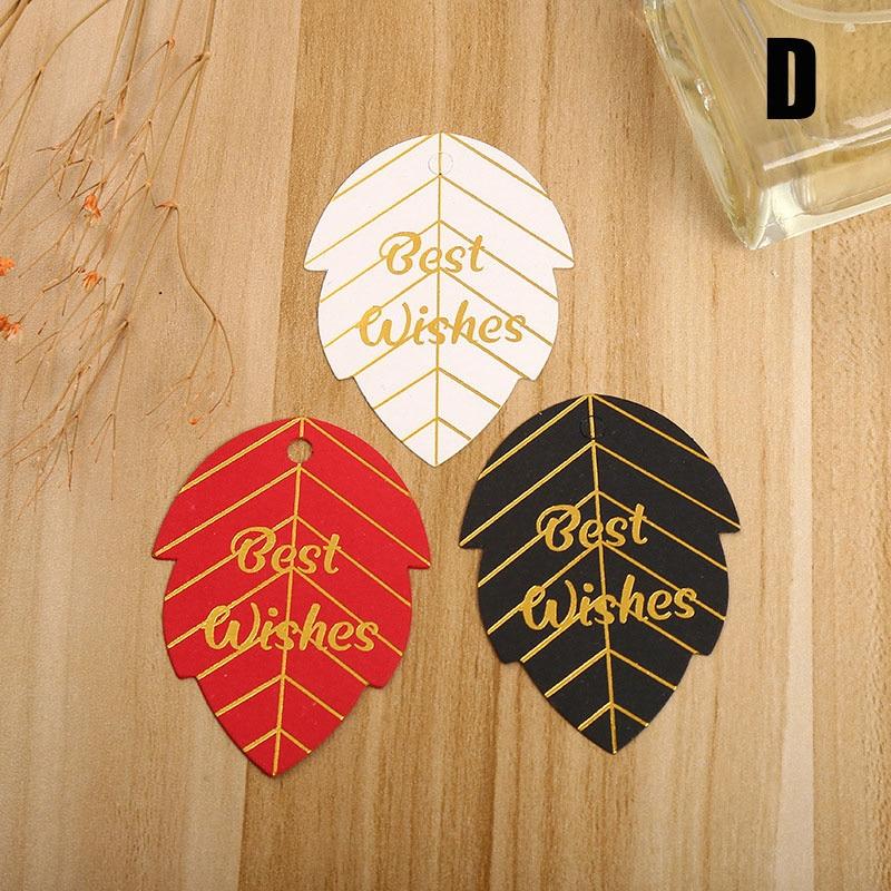 50Pcs Gold Stempelen Papier Gift Tags Dank U Hang Label Christmas Party Box Decor Bruiloft Gunst Handgemaakte Diy Accessoires