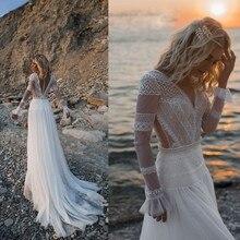 Vestido De novia 2020 de encaje bohemio De manga larga, Vestido de novia Boho, Vestido De novia Vintage, vestidos de boda De playa de alta calidad