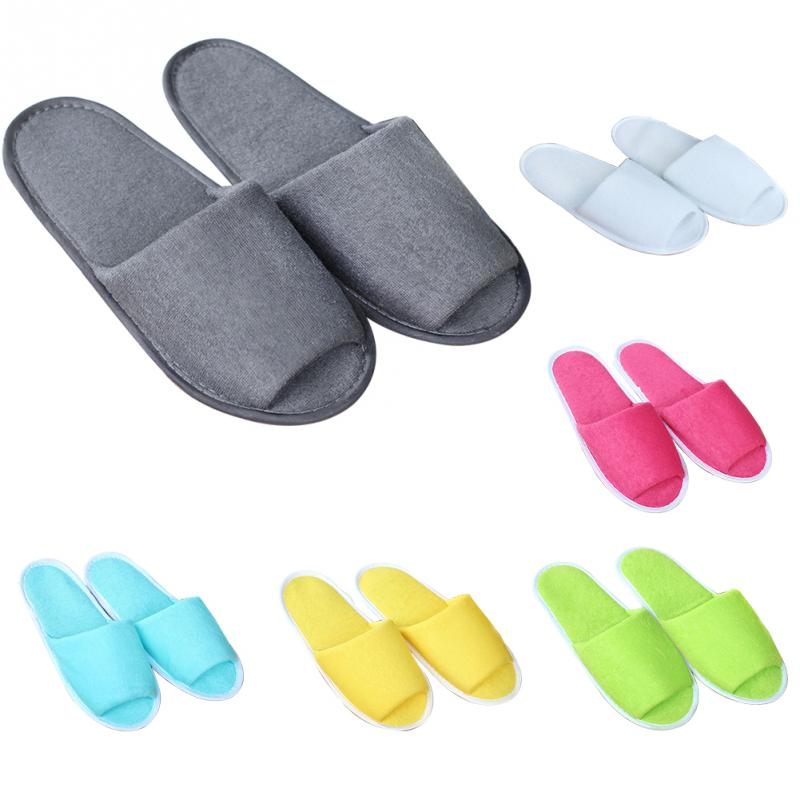 Men Women Guest Travel Solid Hotel House Portable Soft Breathable With Storage Bag Indoor Spa Non Disposable Slippers Foldable
