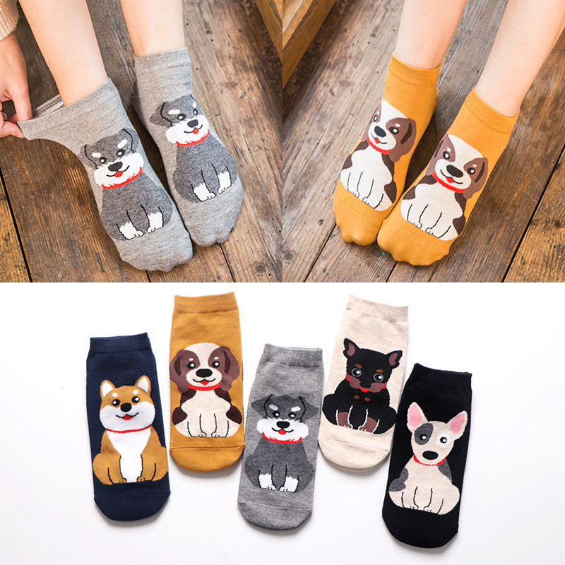 Spring Autumn Fashion Cute Animal Women Cotton Short Socks Tide Dog Kawaii Bull Terrier Beagle Japanese Casual Happy Funny Socks