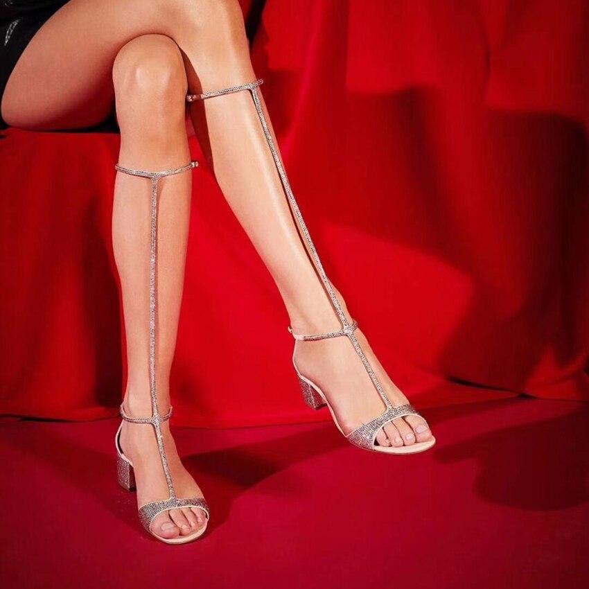 Летние блестящие сандалии с кристаллами; женская обувь до колена с Т образным ремешком; пикантные женские сандалии гладиаторы на высоком ка... - 3
