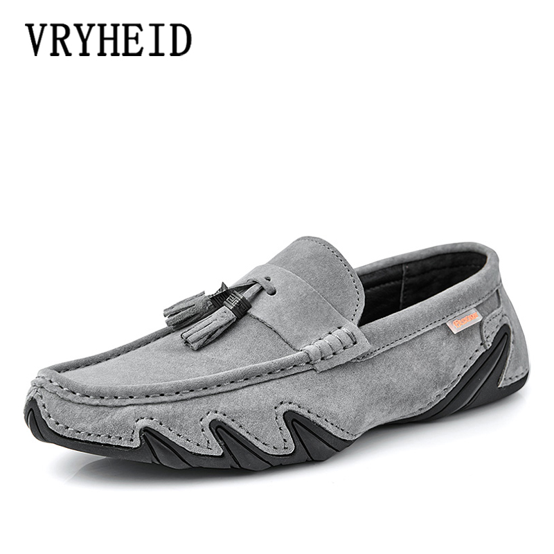 VRYHEID Fashion Genuine Leather Men Casual Loafers Suede Men's Casual Shoes Slip On Boat Shoes For Men Moccasins Chaussure Homme