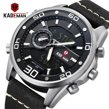 цены на KADEMAN Luxury Men Sport Quartz Watch Waterproof Military Digital Watches TOP Brand Army Leather Wristwatches Relogio Masculino  в интернет-магазинах