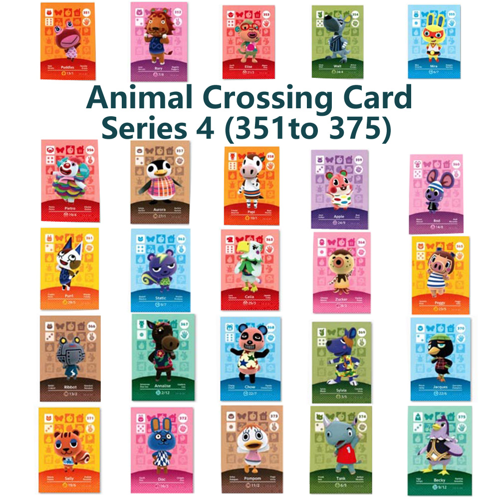 Series 4 (351 To 375) Animal Crossing Card Amiibo Locks Nfc Card Work For NS Games Series 4 (351 To 375)