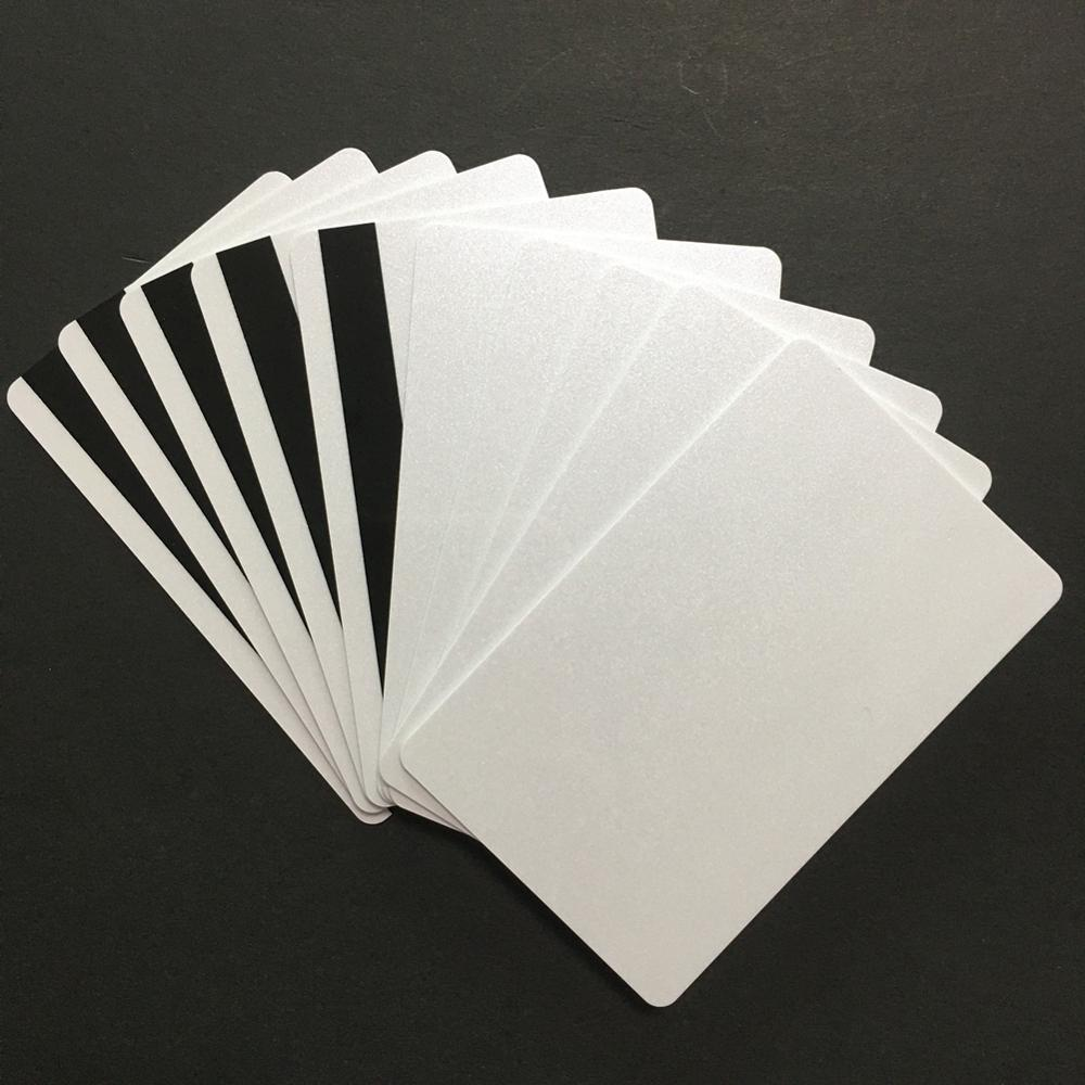 20PCS  ISO HiCo 2750/3000/4000 Oe Magnetic Stripe Pearl White Shines Credit Card Size Printable PVC Card
