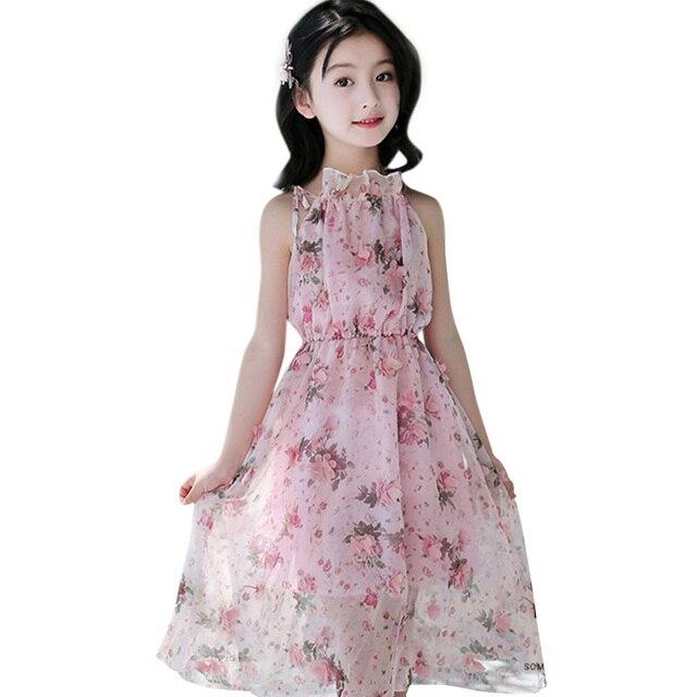 Letnia dziewczęca sukienka na ramiączkach na ramiączkach sukienki na plażę czeska sukieneczka dla dzieci Floral nastoletnie dziewczyny letnie ubrania 6 8 10 12 14 rok