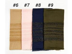 Image 4 - Cotton Khăn Hijab Chắc Chắn Viền Khăn Choàng Đồng Bằng Lắc Chân Nữ Maxi Lấp Lánh Hồi Giáo Dài Hồi Giáo Đầu Bọc Turbans Khăn Choàng/Khăn