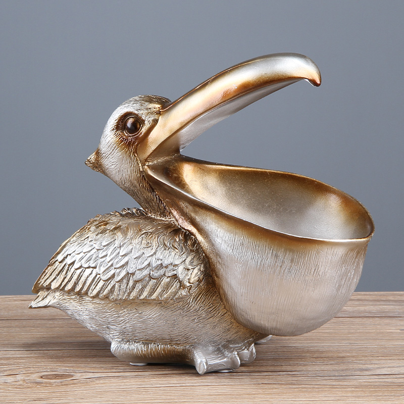 ERMAKOVA Toucan Key Storage Figurine Pelican Statue Storage Basket Animals Bird Sculpture Home Desktop Decor Ornament Gift