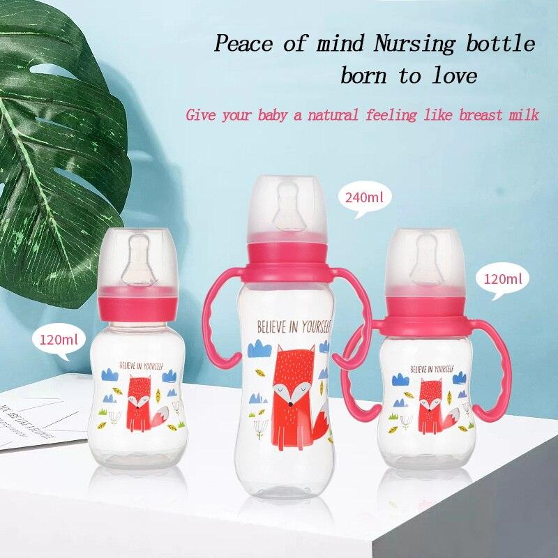 120ML/240ML Standard Diameter Infant Nursing Bottle Feeding Cup With Grip And Neck Nipple Baby Feeding Bottle