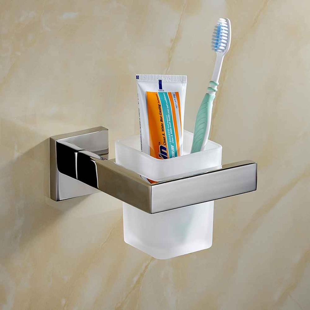 Square Toothbrush Holder Stainless Steel Glass for Toothbrushes Single Drawing Brushing Cup Home Bathroom Accessories Travel image