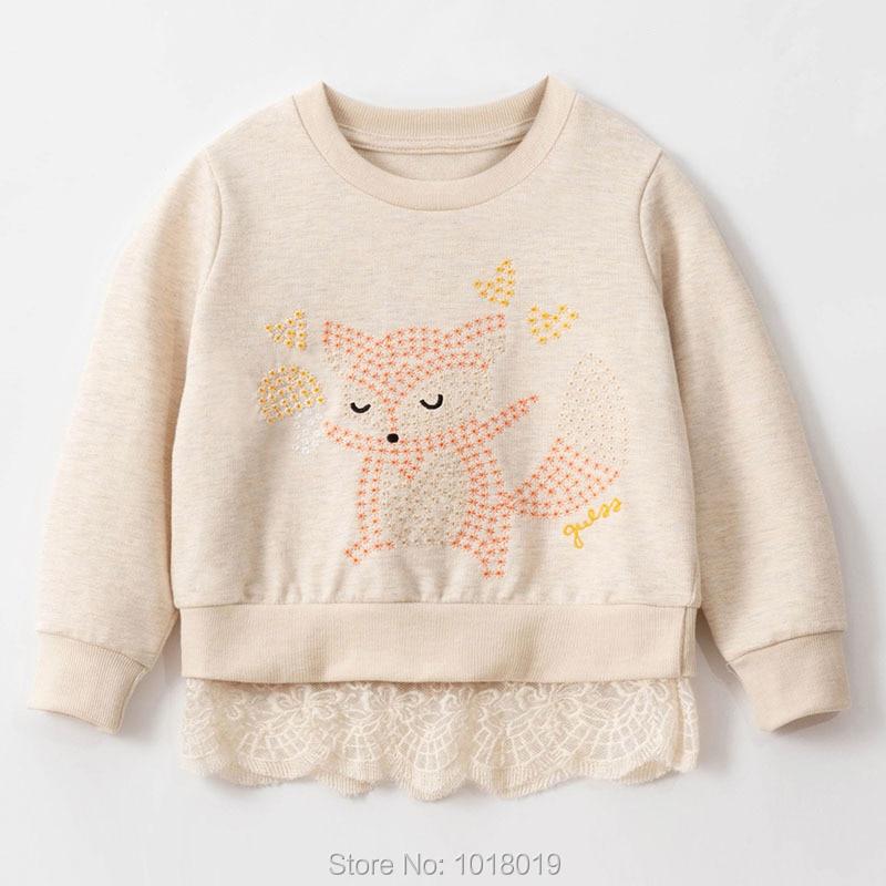 Sequin Fox Girls Tops Fleeces Sweatshirt 100% Terry Cotton Sweaters Children t shirt Kids Hoodies Blouses Baby Girl Clothes 1-7Y 1