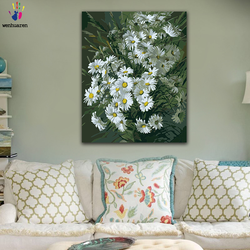 DIY Colorings Pictures By Numbers With Colors White Daisy Flower Sea Picture Drawing Painting By Numbers Framed Home