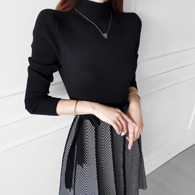 HAYBLST Brand Woman Dress Sweater Dresses For Women 2020 New Winter Clothes Korean Style Long Sleeve Patchwork Knitting Clothing 3