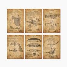 6 в 1 винтажная Летающая машина самолет патент художественные