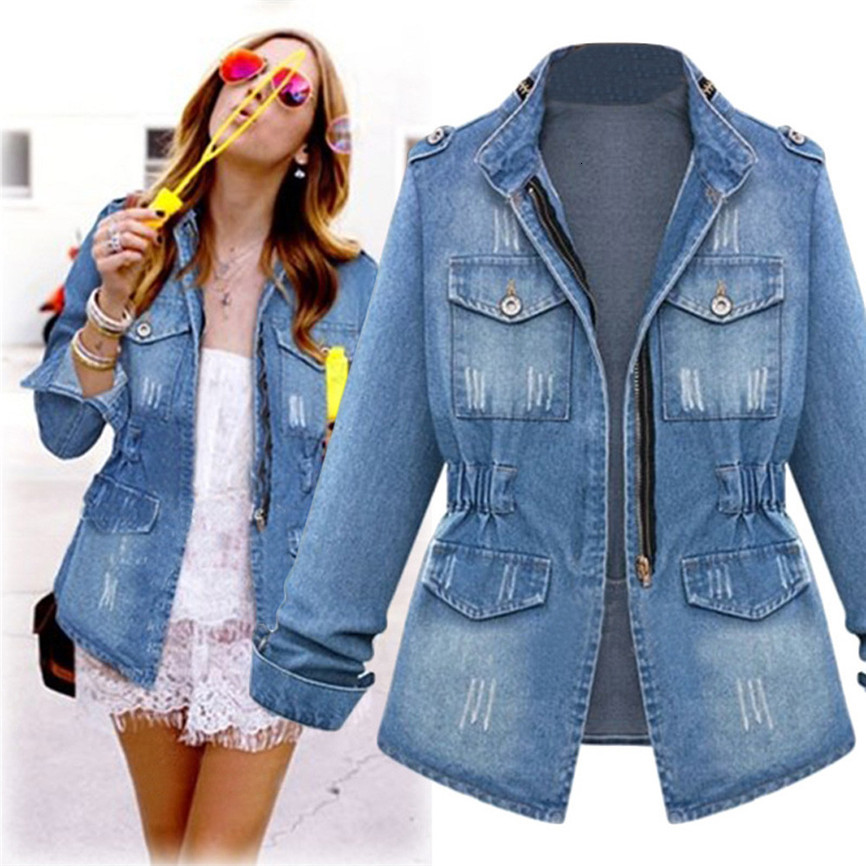 Women's Denim Jacket Plus Size Casual Women's Ladies Denim Oversize Jeans Chain Pocket Coat Warm Jackets Woman Plus Size #FU