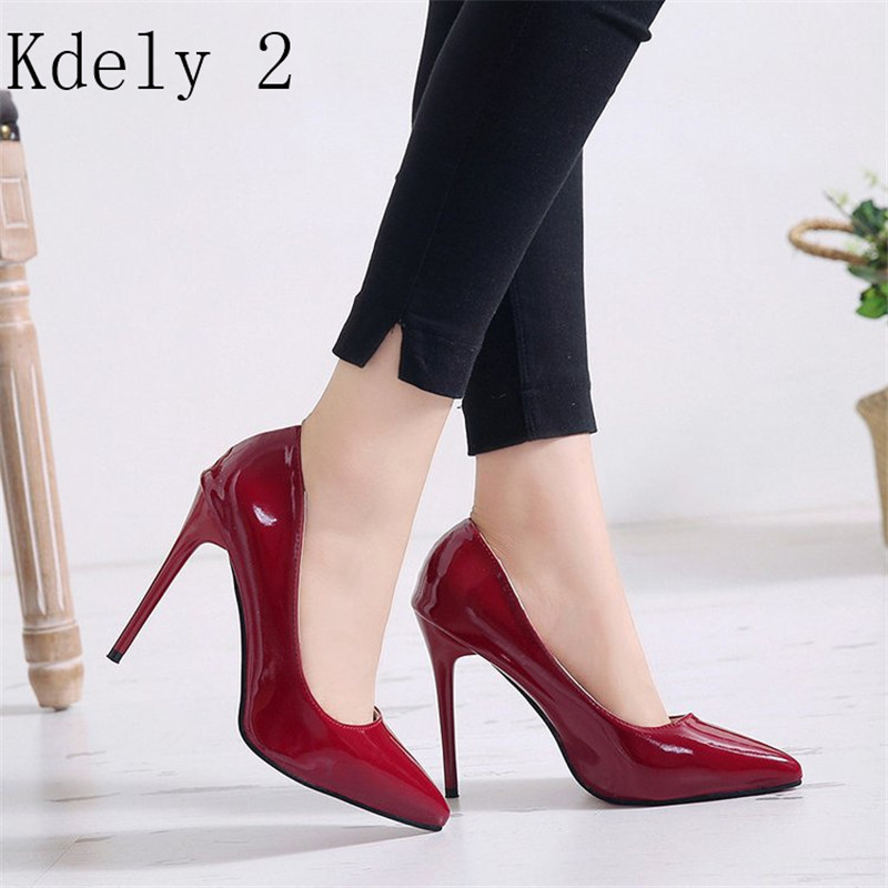 Hot Women Shoes Pointed Toe Pumps Patent Leather Dress High <font><b>Heels</b></font> Boat Wedding Zapatos Mujer Blue Wine Red Plus Size 34-44 image