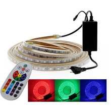 220V 5050 LED Strip RGB Light White Warm 60LED/M Waterproof AC Led Tape Neon