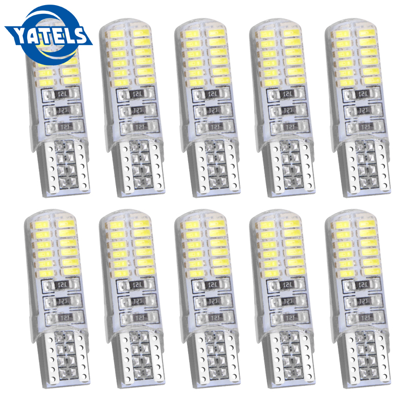 10 PCS T10 w5w 24smd Car <font><b>led</b></font> Bulbs <font><b>Canbus</b></font> Auto Interior Light Silica Lamp Waterproof Turn Signal Plate <font><b>5w5</b></font> 24 SMD 194 501 12V image