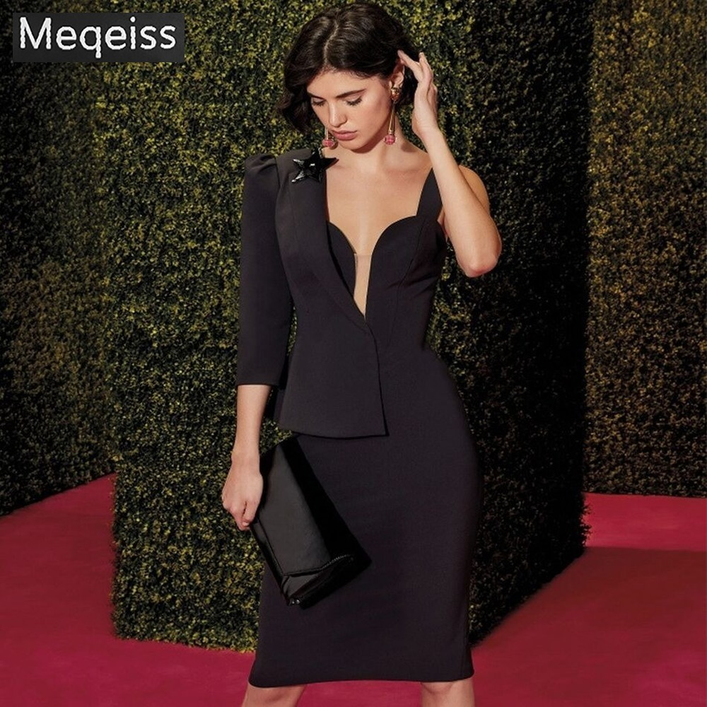 Meqeiss <font><b>2019</b></font> Autumn New Women One Shoulder Celebrity Evening Party <font><b>Dress</b></font> <font><b>Sexy</b></font> Long Sleeve <font><b>Runway</b></font> Hot Bodycon <font><b>Club</b></font> <font><b>Dress</b></font> Vestidos image